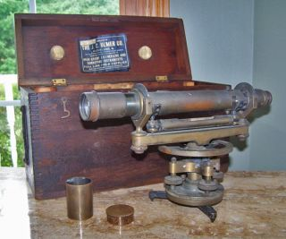Antique Brass Surveyor ' S Transit W/wood Case Kluger Optical Co.  Cleveland,  Oh photo