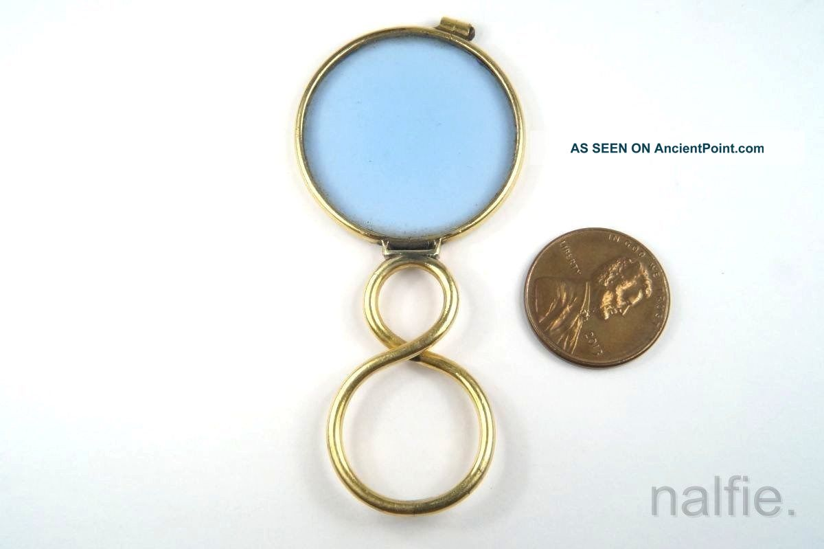 Antique English Gold Magnifying Glass / Quizzer C1800s Optical photo