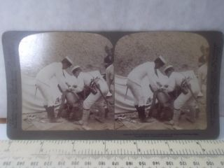 1901 Stereograph Japanese Doctors Attending Their Wounded Battle Tientain China photo
