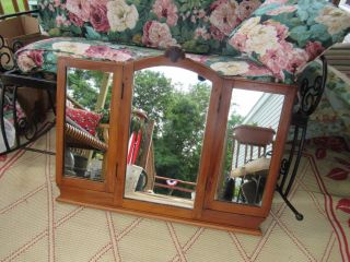 Vintage Victorian Stylish 3 - Fold Wood Dresser/wall Mirror photo