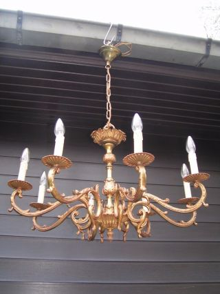 Vintage French 8 Light Bronze Chandelier photo