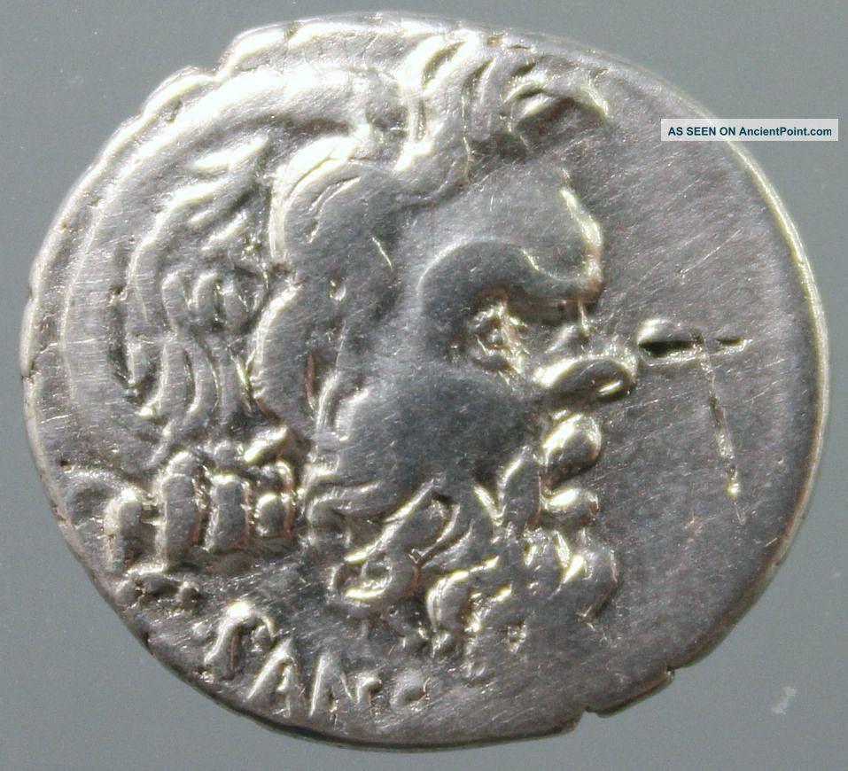 Albinus Bruti F.  And C.  Vibius Pansa,  Silver Denarius,  Pan,  Caduceus,  Rome 48 Bc Roman photo