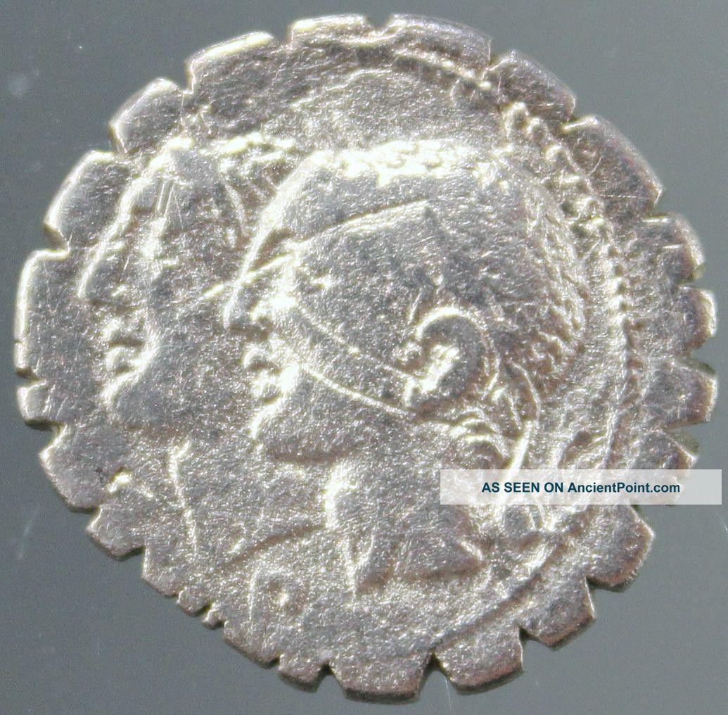 C.  Sulpicius C.  F.  Galba,  Silver Denarius Serratus,  Dei Penates,  Soldiers,  106 Bc Roman photo