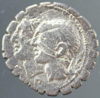 C.  Sulpicius C.  F.  Galba,  Silver Denarius Serratus,  Dei Penates,  Soldiers,  106 Bc photo