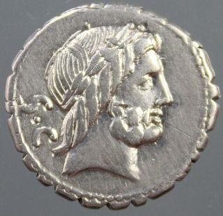 Q.  Antonius Balbus,  Silver Denarius,  Jupiter,  Victory Quadriga,  Horses,  83 - 82 Bc photo