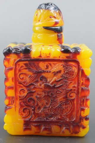 Handwork Decoration Beeswax Like Resin Carve Emboss Dragon Delicate Snuff Bottle photo