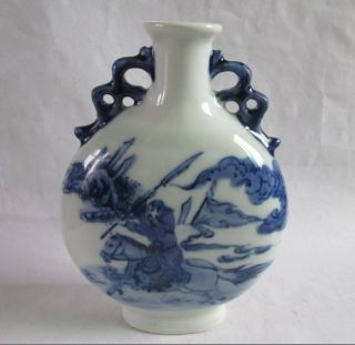 Antique Chinese Blue And White Porcelain Vase In The Three Kingdoms Guan Yu photo