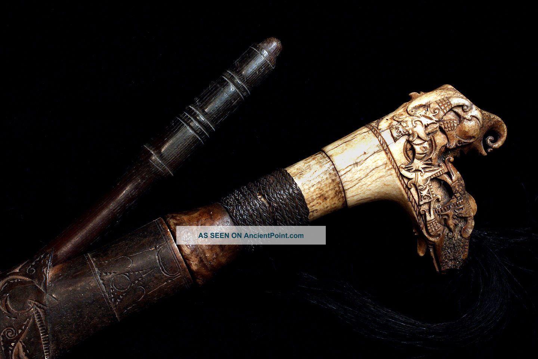 Authentic Antique Dayak Mandau Head Hunting Sword Circa 1890 Pacific Islands & Oceania photo