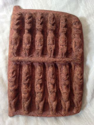 Old Tribal Art African Granary Door Ancestor Figures Pottery Or Clay Very Heavy photo