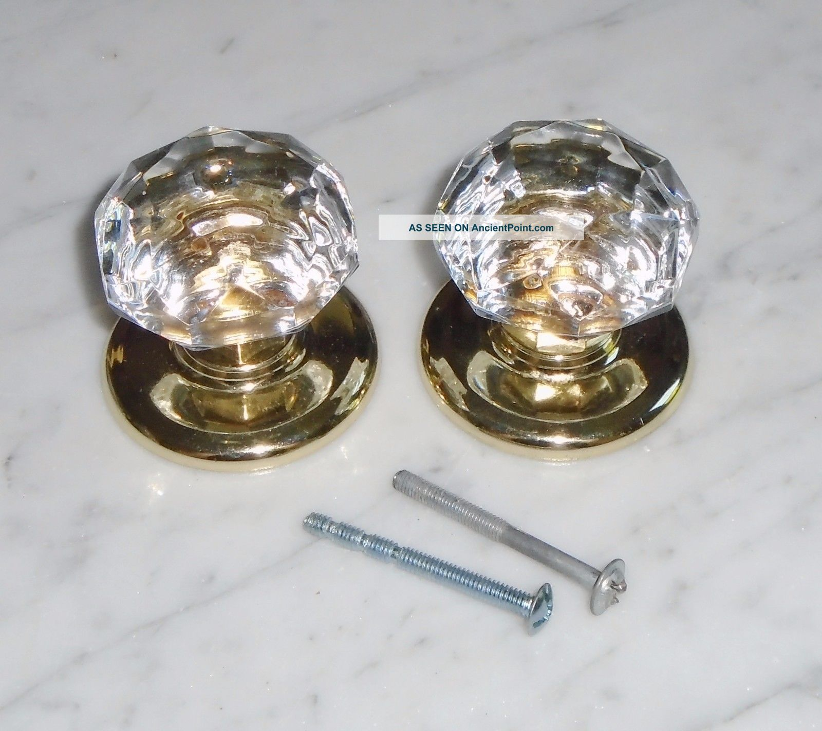 Vintage Gainsborough Harware Prismatic Sonota Crystal Door Knobs Only