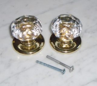 Vintage Gainsborough Harware Prismatic Sonota Crystal Door Knobs Only photo