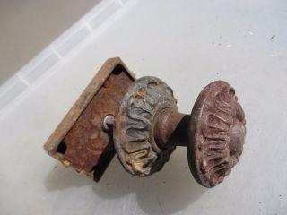 Victorian Iron Lever Door Knob Lock Bolt Pull Ornate Antique Gilt Vintage Old photo