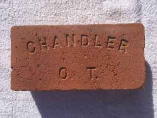 Vintage.  Near.  Red.  Chandler O.  T.  Chandler,  Oklahoma Territory Brick photo