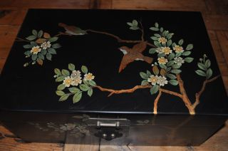 Chinese Wooden Hand Painted Birds & Flower Large Box photo