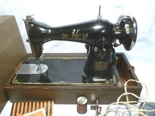 Vintage Hess Home Electric Sewing Machine Made In Japan W/us Motor - Bl photo