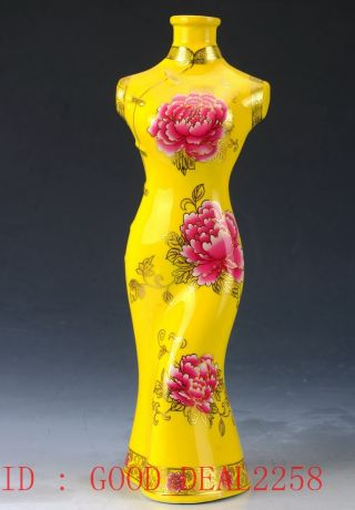 Chinese Porcelain Handwork Carved Beauty Pattern Statue Cqqp04 photo
