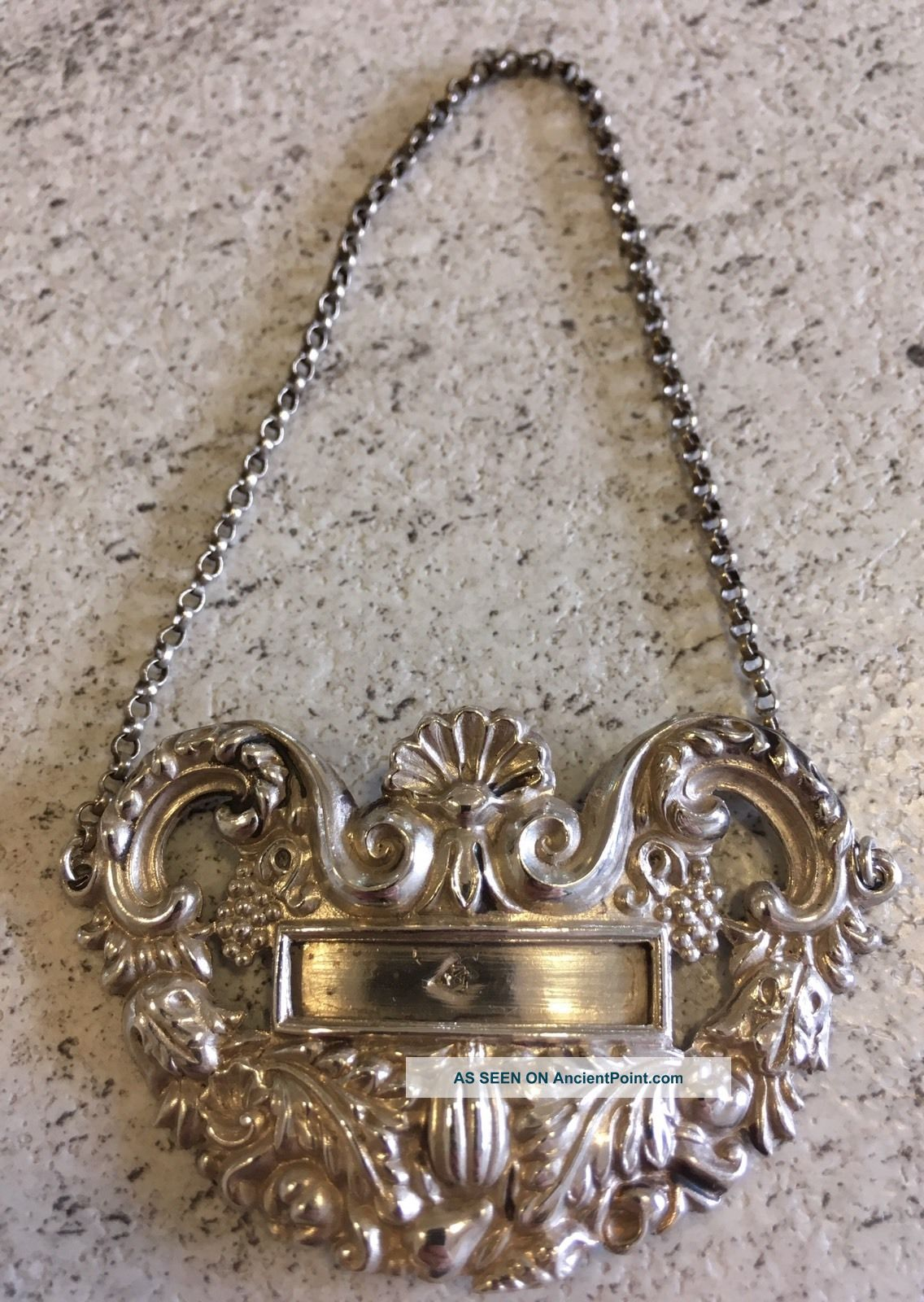 Antique C1820 Wine Decanter Bottle Label French Silver Hallmarked Blank Slot Other Antique Sterling Silver photo