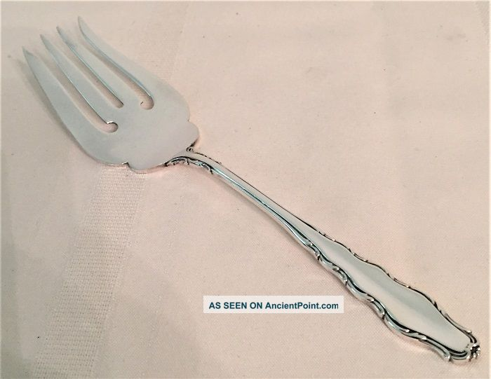 Reed Barton English Provincial Lg Sterling Silver Cold Meat Fish Serving Fork Flatware & Silverware photo