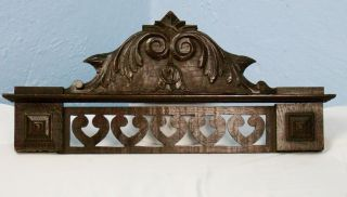 Us0017 Antique Wood Pediment: French Hand Carved Chestnut Wood Overdoor photo