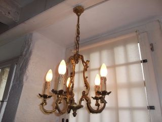 French Vintage 5 Light Bird Cage Chandelier Ornate Bronze Classic Interior photo