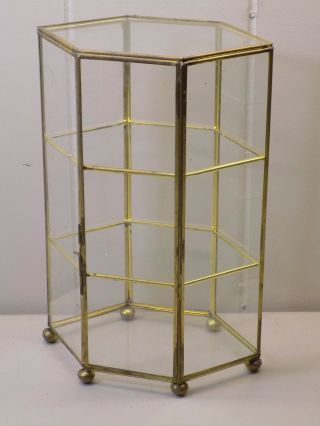 Vintage Hexagonal 3 Tier Brass And Glass Miniatures Curio Display Cabinet Euc photo