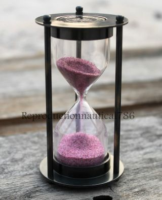 Vintage Antique Hour Glass Sand Timer Maritime Marine Desk Top Decorative Gift photo