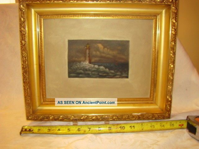Vintage Folky Oil Painting On Board Minots Ledge Lighthouse 19th C.  Great Frame Folk Art photo