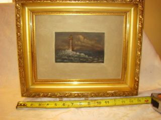 Vintage Folky Oil Painting On Board Minots Ledge Lighthouse 19th C.  Great Frame photo
