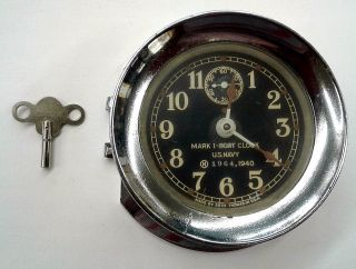 Seth Thomas U.  S.  Navy Mark I - Boat Clock,  1940 World War Ii, photo