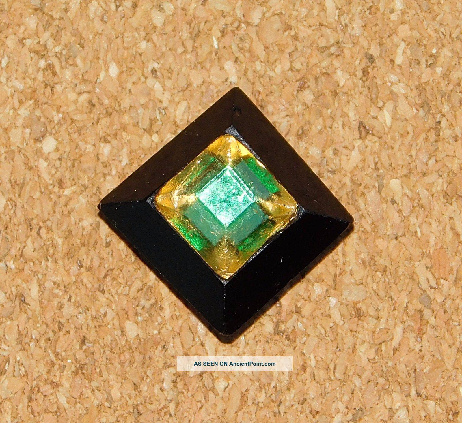 Antique Rare Tingue Emerald Green & Gold Flashing Glass Button Buttons photo