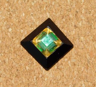 Antique Rare Tingue Emerald Green & Gold Flashing Glass Button photo