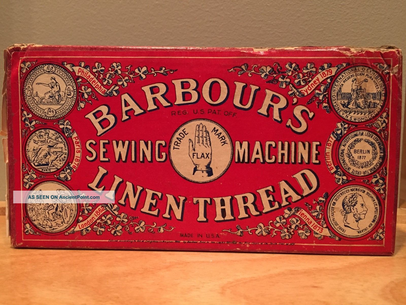 Antique Vintage Barbour ' S Irish Sewing Machine Linen Thread Box Made In The Usa Baskets & Boxes photo