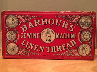 Antique Vintage Barbour ' S Irish Sewing Machine Linen Thread Box Made In The Usa photo