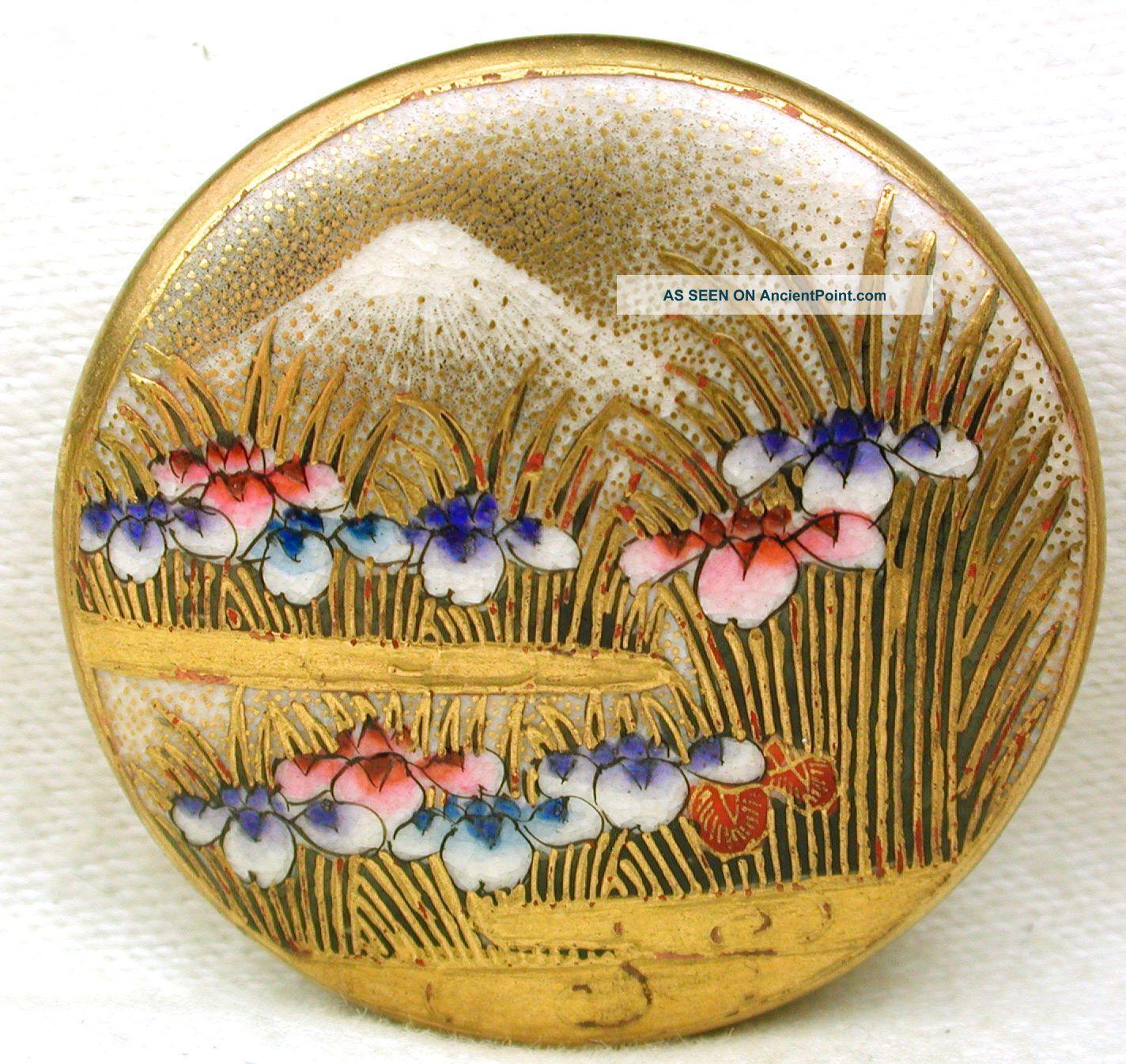 Antique Meiji Satsuma Button Multi Color Iris & Mt Fuji W Gold Accents 1 & 7/16