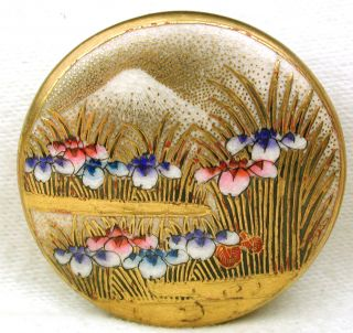 Antique Meiji Satsuma Button Multi Color Iris & Mt Fuji W Gold Accents 1 & 7/16