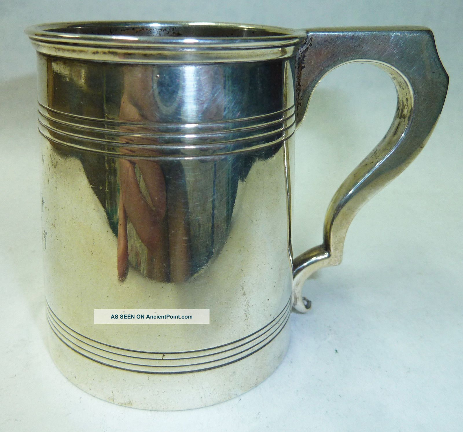 Small Antique Solid Silver Tankard Birmingham 1915 - 111g Cups & Goblets photo