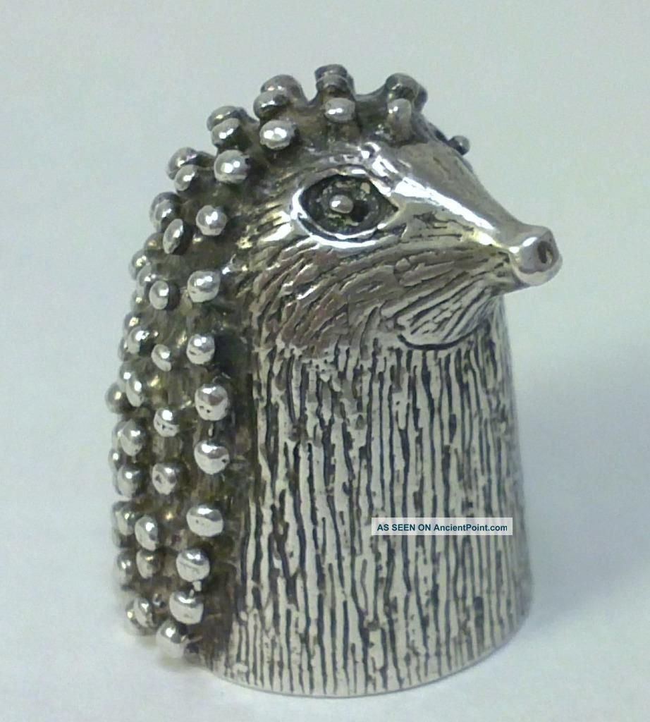 Vintage Hallmarked Sterling Silver Novelty Hedgehog Thimble – 1987 (17g) Other Antique Sterling Silver photo