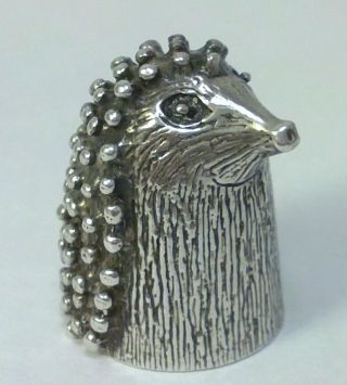 Vintage Hallmarked Sterling Silver Novelty Hedgehog Thimble – 1987 (17g) photo