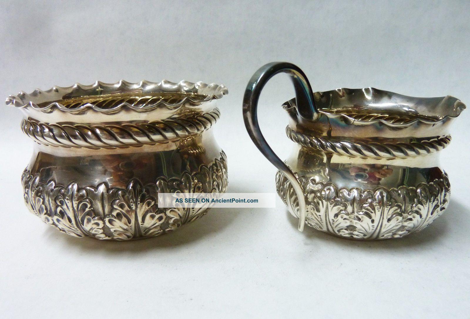 Matching Antique Solid Silver Sugar Bowl London 1896 & Cream Jug 1895 - 131g Tea/Coffee Pots & Sets photo