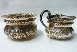 Matching Antique Solid Silver Sugar Bowl London 1896 & Cream Jug 1895 - 131g photo