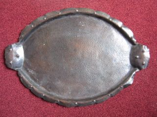 Copper Oval Tray - Handcrafted - Arts & Crafts - Marked photo
