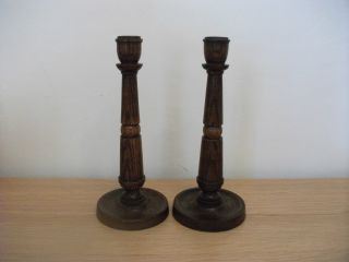 Pair Wooden Candlesticks 1930s Art Deco photo