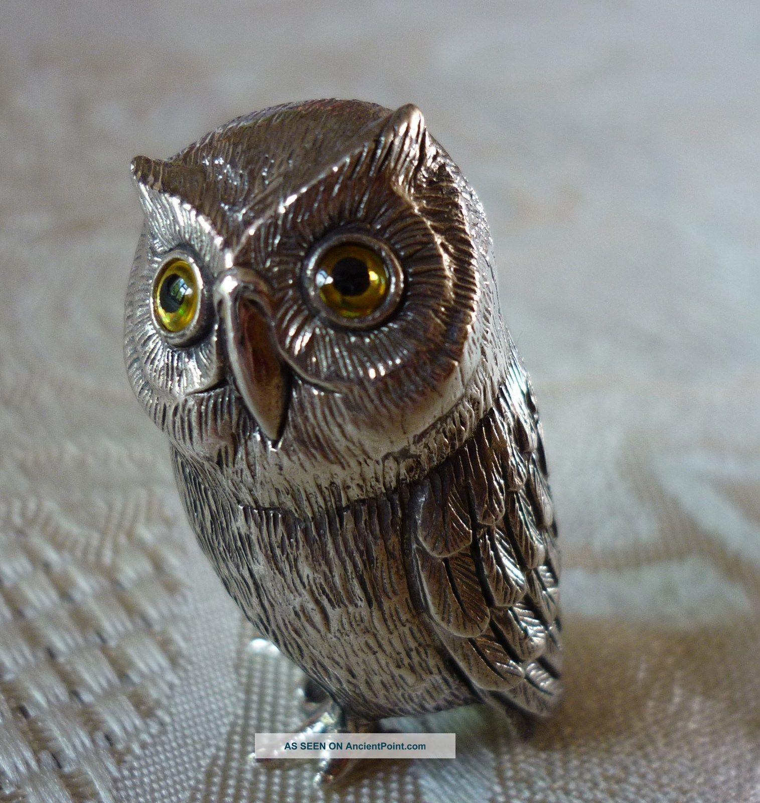 Solid Sterling Silver Tiny Miniature Baby Owl Figure With Glass Eyes Other Antique Sterling Silver photo