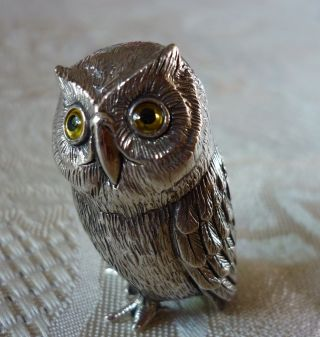 Solid Sterling Silver Tiny Miniature Baby Owl Figure With Glass Eyes photo