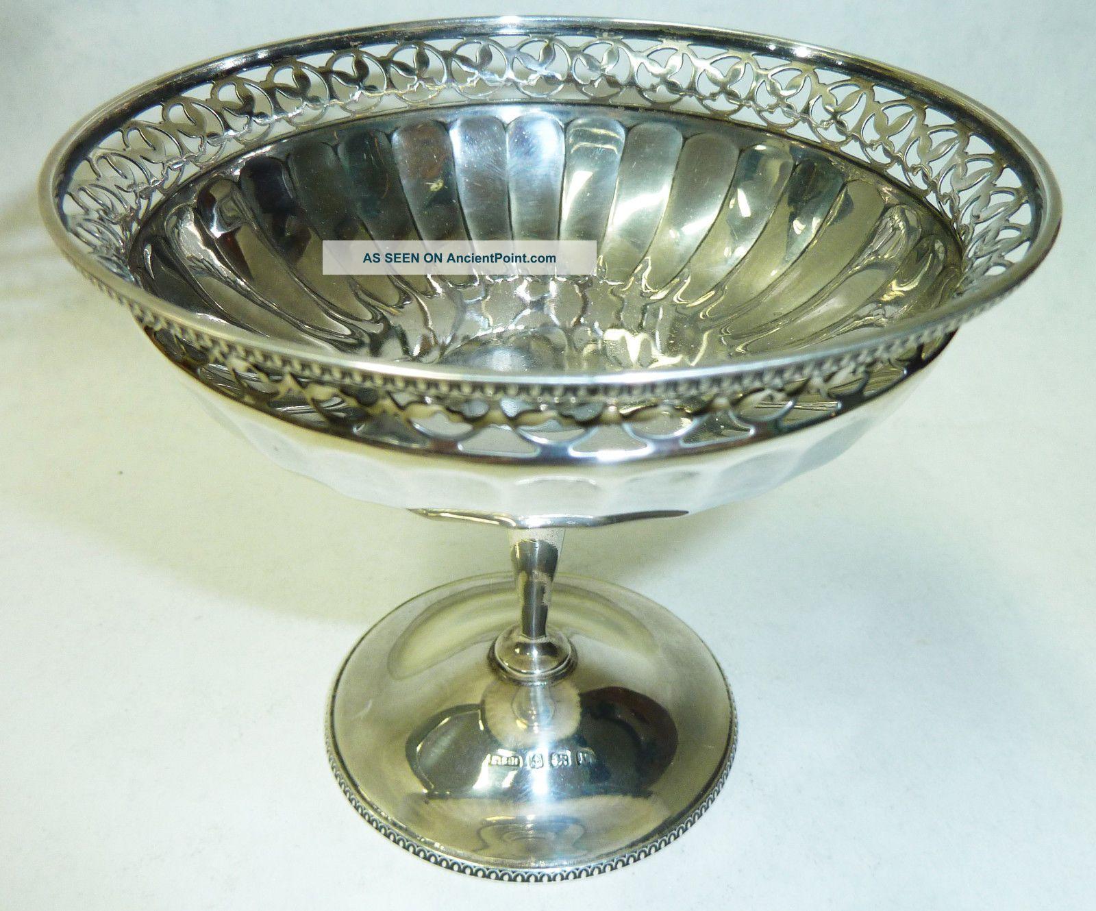 Antique Solid Silver Pedestal Bon Bon Dish - Birmingham 1916 - 138g Cups & Goblets photo