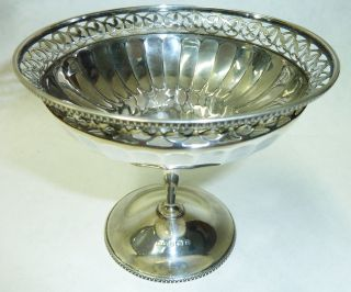 Antique Solid Silver Pedestal Bon Bon Dish - Birmingham 1916 - 138g photo