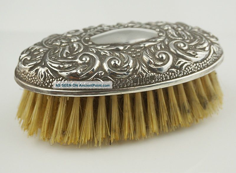 Ladies Sterling Silver Hallmarked 925 Bristle Grooming Brush Oval Top Repousse Brushes & Grooming Sets photo