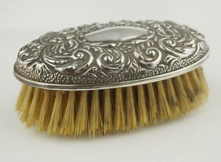 Ladies Sterling Silver Hallmarked 925 Bristle Grooming Brush Oval Top Repousse photo