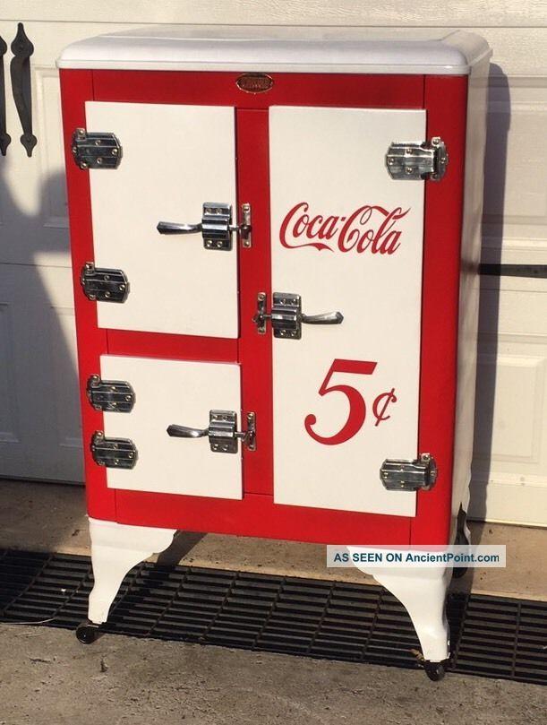 Vintage Ice Box Refrigerator Metal 1930 ' S 3 Door Restored Coca Cola Theme Wow Ice Boxes photo