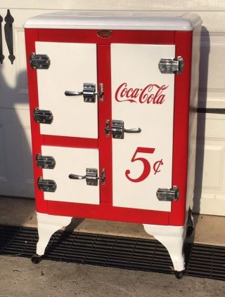Vintage Ice Box Refrigerator Metal 1930 ' S 3 Door Restored Coca Cola Theme Wow photo